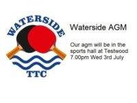 Waterside TTC AGM 3rd July 2019 7pm