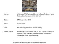 Training Day Sat 14th Sept